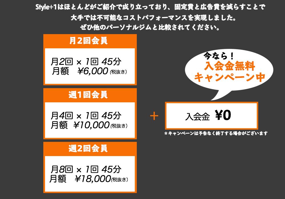 料金は月2回6000円、月4回10000円、月8回18000円、今なら会費は無料となっております。
