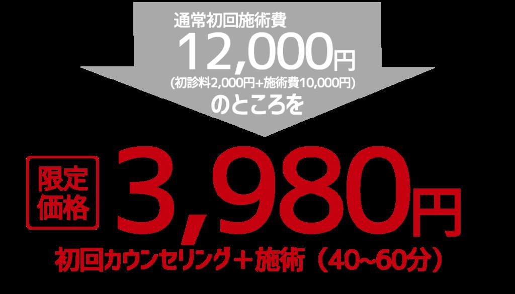 私に合っているか不安そんなあなたに初回3980円の特別価格!