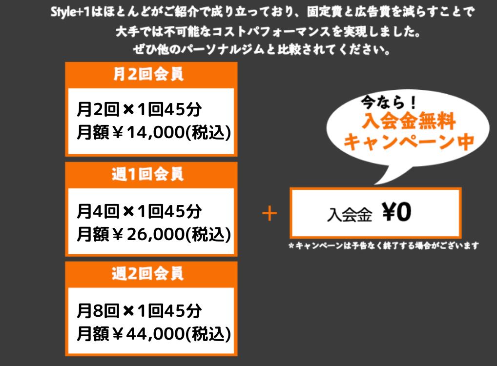 料金は月2回14000円、月4回26000円、月8回44000円、今なら会費は無料となっております。